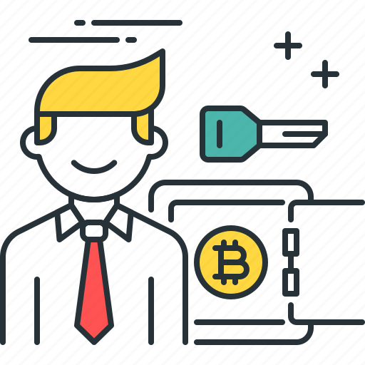 bank, bitcoin, key, money, person, proof, stake icon