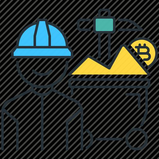 bitcoin, miner, mining, proof, user, work, yield icon