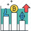analytics, chart, cryptocurrency, diagram, growth, statistics, stocks icon