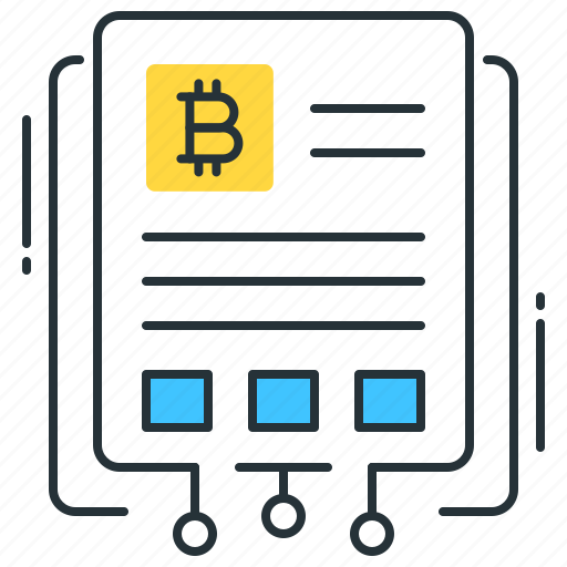bitcoin, business, data, document, paper, sheet, white icon