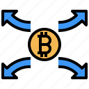 dollar, decentralization, money, coin, arrows