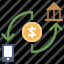 arrows, coin, dollar, money, transfer