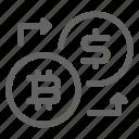 bitcoin, convert, dollar, exchange