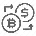 bitcoin, convert, dollar, exchange icon
