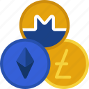 alt, coins, monero, ethereum, litecoin icon