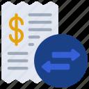 transaction, fees, bills, money, transfer