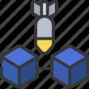 blockchain, attack, bomb, ddos, blocks