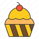 bakery, cake, cherry, cupcake, dessert, food, muffin, sweets icon
