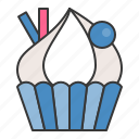 bakery, cake, cream, cupcake, dessert, food, muffin, sweets icon