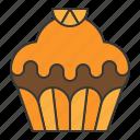 bakery, cake, cupcake, dessert, food, muffin, orange, sweets icon