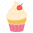 baking, cake, cherry, colour, cupcake, icing, sweets icon