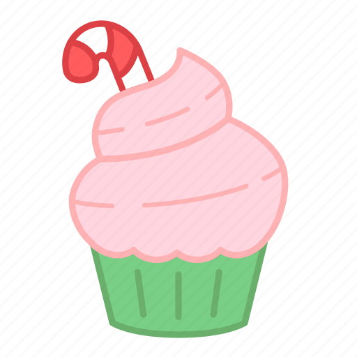 baking, cake, candy cane, christmas, colour, cupcake, sweets icon