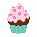 baking, blueberries, cake, chocolate, colour, cupcake, sweets icon