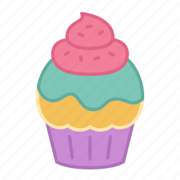 baking, cake, colour, cupcake, pastel, sprinkles, sweets icon