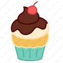 baking, cake, cherry, chocolate, colour, cupcake, sweets icon