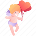 balloon, cupid, heart, love, valentine, wedding, valentine's day icon