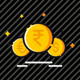 american, currency, dollar, euro, finanace, money, rupee icon