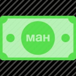 azerbaijan, azn, currency, mah, manat, money, new, price icon