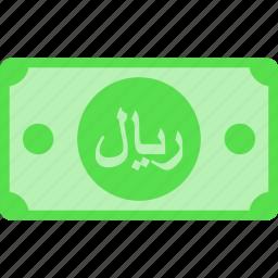 arabia, currency, iran, money, oman, price, qatar, rial, riyal, sar, saudi, yemen icon