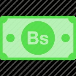 bolivar, bs, currency, money, price, vef, venezuela icon