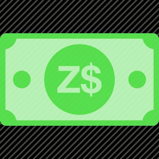 currency, dollar, money, zimbabwe, zwd icon