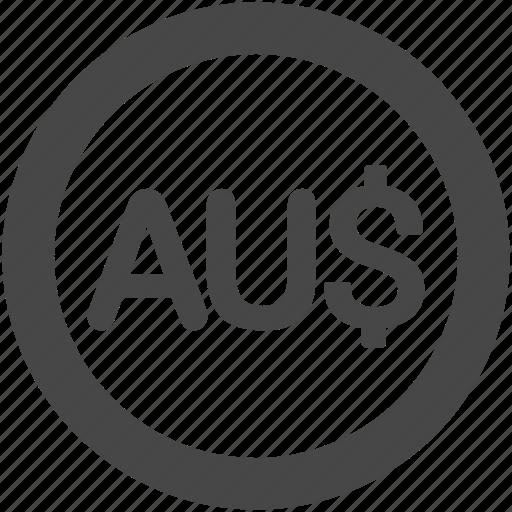 aud, australian dollar, coin, currency, dollar, finance, money icon