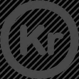 coin, currency, danish krone, dkk, krone, kroner, money icon