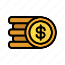 coin, money, dollar, stack, cash, currency, finance