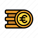 coin, money, euro, stack, cash, currency, finance