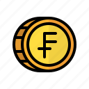 coin, money, franc, cash, currency, finance, business icon