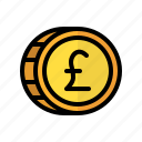 coin, money, pound, sterling, cash, currency, finance icon