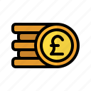 coin, money, pound, sterling, stack, cash, currency icon