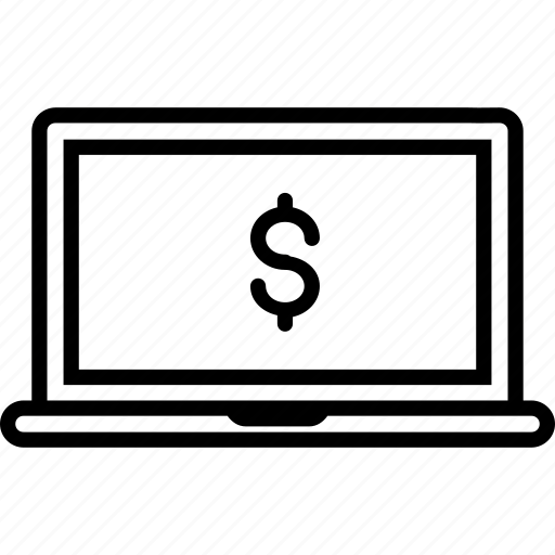 american, currency, dollar, financial, laptop, money, price icon