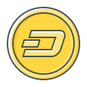 coin, cryptocurrency, dash icon