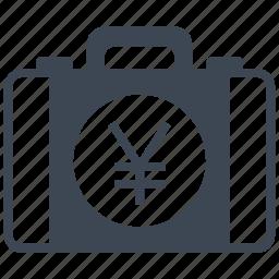 briefcase, business, buy, cash, money, purchase, yen icon