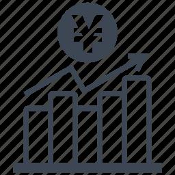 analysis, analytics, bar, chart, diagram, money, yen icon