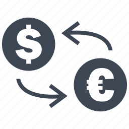 coin, conversion, convert, dollar, euro, exchange, rate icon