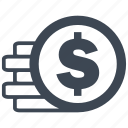 cash, currency, debit, dollar, loss, money, profit icon