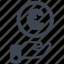 cash, currency, debit, euro, loss, money, profit icon