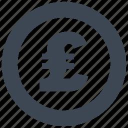 cash, currency, debit, loss, money, pound, profit icon