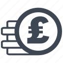 cash, currency, debit, loss, money, pound, profit icon