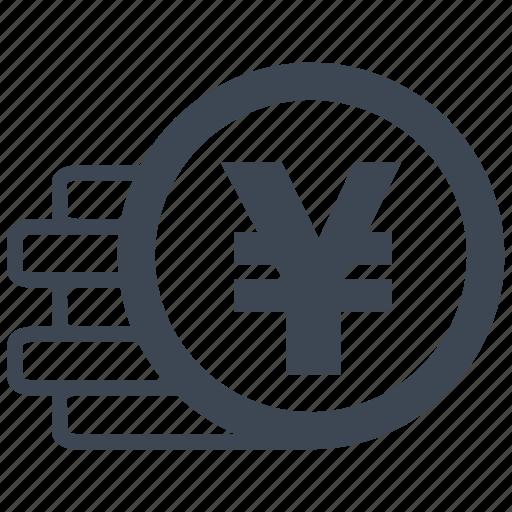 cash, currency, debit, loss, money, profit, yen icon