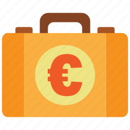 briefcase, business, cash, euro, money, money bag, property icon
