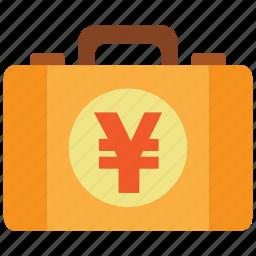 briefcase, business, cash, money, money bag, property, yen icon