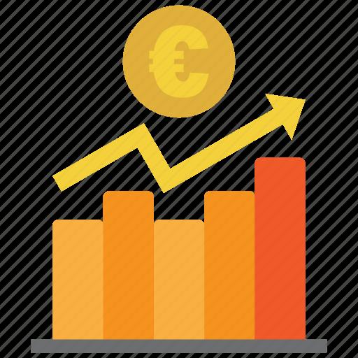 analysis, chart, coin, diagram, euro, graph, money icon