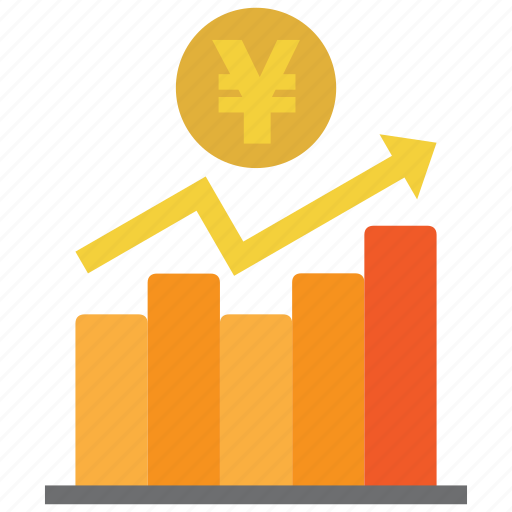 analysis, chart, coin, diagram, graph, money, yen icon