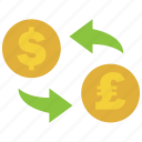 conversion, convert, dollar, exchange, pound, rate, transfer icon