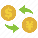 conversion, convert, dollar, exchange, rate, transfer, yen icon