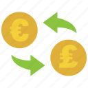 conversion, convert, euro, exchange, pound, rate, transfer icon