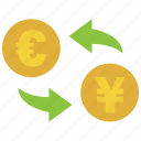 conversion, convert, euro, exchange, rate, transfer, yen icon